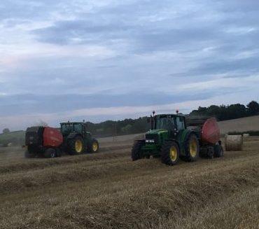 Baling wheat straw by TS Matthews and Son, Bartonsham Dairies